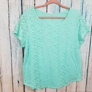 George XXL/20 Seagreen Tshirt With Lace Accent